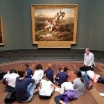 Students learn more about historical figures during a trip to the National Gallery of Art.